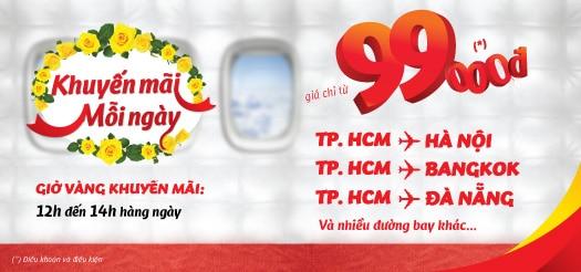 Vietjet Air khuyến mãi từ 12h-14h mỗi ngày