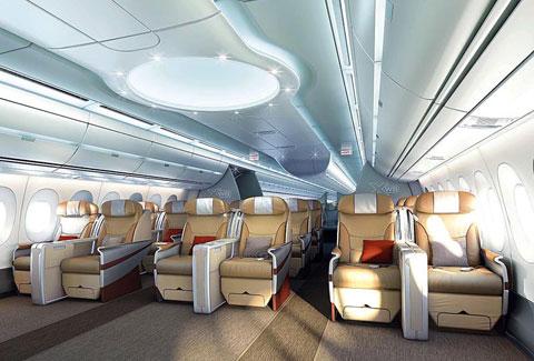 Nội thất khoang hạng nhất của chiếc Airbus 350 - 900.