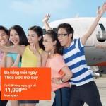 3 tiếng mỗi ngày, giá vé máy bay chỉ còn 11.000đ