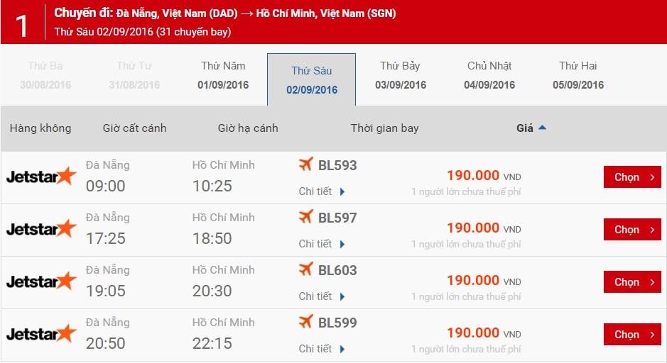 Bản giá vé máy bay hành trình Đà Nẵng - TP HCM ngày 2/9
