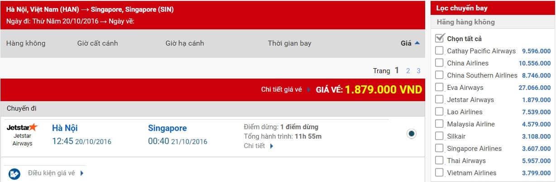 Bảng giá vé máy bay rẻ nhất và giá vé của các hãng có chuyến bay ngày 15/9 chặng TPHCM - Băng cốc