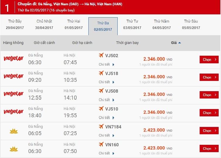 Giá vé máy bay chặng Đà Nẵng - Hà Nội ngày 2/5 trên website Gia Trần