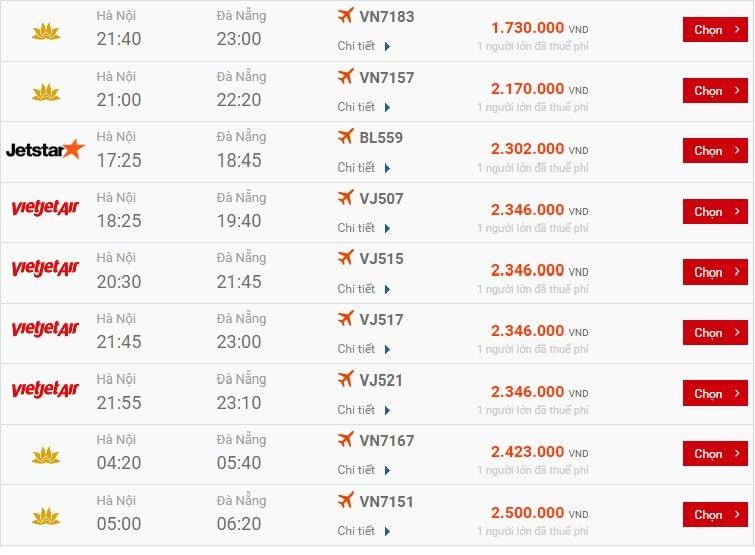 Bảng giá vé máy bay chặng Hà Nội - Đà Nẵng ngày 29/4 trên website Gia Trần